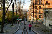 France, Paris, Montmartre district, Staircase leading towards the basilica Sacre-Coeur crowning the Montmartre hill