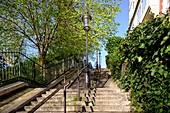 Frankreich, Paris, Stadteil Montmartre, Treppe zur Basilika Sacré-Coeur auf dem Montmartre-Hügel