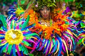 France, Guadeloupe, Grande Terre, Pointe a Pitre, portrait of a dancer of Avan Van band from Le Moule, during the closing parade of Shrovetide