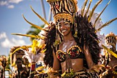 France, Guadeloupe, Grande Terre, Pointe a Pitre, portrait of a dancer of Pirouli Band, during the closing parade of Shrovetide
