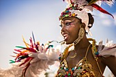 France, Guadeloupe, Grande Terre, Pointe a Pitre, portrait of a dancer of Pikanga Band from Baie Mahault, during the closing parade of Shrovetide