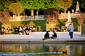 France, Paris, Luxembourg gardens at last light