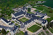 France, Maine et Loire, Fontevraud l'Abbaye, Loire valley listed as World Heritage by UNESCO, the abbey (aerial view)