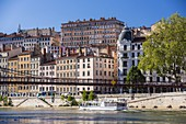 France, Rhone, Lyon, historical site listed as World Heritage by UNESCO, Quai St Vincent and Passerelle St Vincent over the Saone River and the Croix Rousse District