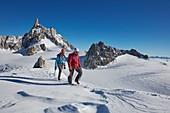 France, Haute-Savoie, Chamonix, alpinists on the ridge of the Petit Flambeau (3440 m) , Mont-Blanc range