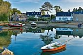 France, Morbihan, Belz, Etel river, Vieux-Passage, boats in the harbor of Vieux-Passage