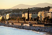 France, Alpes Maritimes, Nice, Ponchettes beach and the Promenade des Anglais