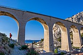 France, Bouches du Rhone, Blue Coast, Le Rove, La Vesse Calanque, viaduct of the railwayline from Miramas to L'Estaque or Blue Coast line
