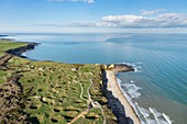 France, Calvados, Cricqueville en Bessin, Pointe du Hoc, topography reflects the violence of alliers bombings intended to destroy the battery (aerial view)