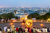 France, Paris, Montmartre hill, show by street artist