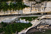 France, Dordogne, Perigord Noir, Vezere Valley, prehistoric site and decorated cave listed as World Heritage by UNESCO, Peyzac le Moustier, La Roque Saint Christophe Cliff, troglodytic site dating of the Prehistory, Rock shelters (aerial view)