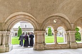 France, Cote d'Or, Marmagne, former Cistercian abbey of Fontenay founded 1118 listed as World Heritage by UNESCO, the cloister