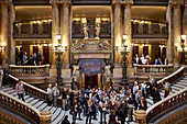 France, Paris, Opera Garnier, large ceremonial staircase leading to the auditorium, lounges and homes
