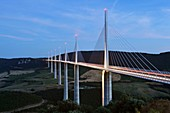 France, Aveyron, Parc Naturel Regional des Grands Causses (Natural Regional Park of Grands Causses), Millau viaduct by architects Michel Virlogeux and Norman Foster, between Causse du Larzac and Causse de Sauveterre above Tarn river