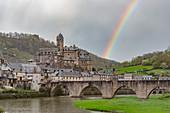 France, Aveyron, Estaing, labelled Les Plus Beaux Villages de France (The most beautiful villages of France), a stop on el Camino de Santiago, listed as World Heritage by UNESCO, Lot valley