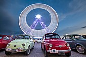 France, Var, Saint Raphael, esplanade Jean-louis Delayen, concentration of former cars during the 4th Meeting Fiat 500 in front of the big wheel