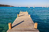 France, Corse du Sud, Porto Vecchio, wooden pontoon in the gulf of Santa Giula