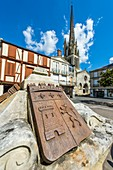 France, Gironde, Sainte-Foy-la-Grande, the city coat of arms and Notre-Dame church built in the 12th century