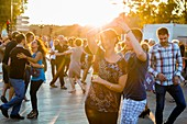 France, Gironde, Bordeaux, area listed as World Heritage by UNESCO, Saint Pierre district, dancing on the waterfront in the summer evening