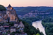 France, Dordogne, Perigord Noir, Dordogne Valley, Castelnaud la Chapelle, labelled Les Plus Beaux Villages de France (The Most Beautiful Villages of France), the castle and the Beynac Castle in the background