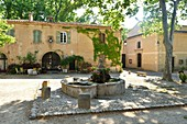 France, Herault, Villeneuvette, former Royal factory, the fountain on the Place Louis XIV set up for the washerwomen