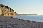 France, Seine Maritime, Dieppe, pebble beach and cliffs to the west