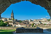 France, Gironde, Saint-Emilion, listed as World Heritage by UNESCO, panoramic view of the medieval city dominated by the 11th century monolithic church entirely carved out of the rock