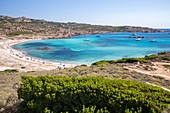 France, Corse du Sud, Bonifacio, beach and turquoise blue waters of the bay of Stagnolu