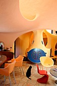 "France, Ardeche, Labeaume, House Unal called ""bubble house"" freeform construction Joel Unal listed as historical monuments"