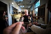 France, Drome, Tain l'Hermitage, Rhone valley, Wine making cooperative cellar of Tain, wine tasting with Daniel Brissot, vineyard farmer