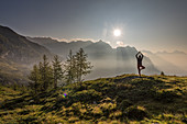 Yoga in the morning, Trekking del Laghetti Alpini, Ticino, Switzerland