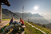 Breakfast in front of the Rifugio Poncione di Braga, Trekking del Laghetti Alpini, Ticino, Switzerland