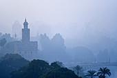 Torre del Oro amongst trees and fog in Seville, Spain