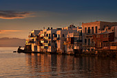Buildings on waterfront in Mykonos, Greece