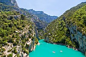 France, Var on the Left Bank and Alpes de Haute Provence on the Right Bank, Parc Naturel Regional du Verdon (Natural Regional Park of Verdon), Sainte Croix lake, entrance of the Gorges du Verdon, Grand Canyon