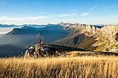 France, Isere, regional natural reserve of Vercors, oriental barrier of Vercors, panorama since the pass of Moucherolles (2060m) on Trieves
