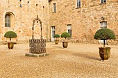 France, Aude, Le Pays Cathare (Cathar country), Narbonne, main courtyard of Sainte Marie de Fontfroide abbey church