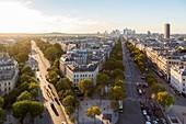 France, Paris, the Avenue of the Grande Armee linking La Defense