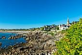 France, Finistere, Iroise sea, Legendes Coast, Porspoder, 17th century Saint-Budoc church built on the seaside