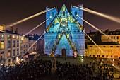 France, Rhone, Lyon, district of Vieux-Lyon, historical site listed as World Heritage by UNESCO, the Lyon Cathedral (Cathedrale Saint-Jean-Baptiste de Lyon) during the Fete des Lumieres (Light Festival), show Evolutions of Yann Nguema