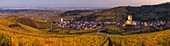France, Haut-Rhin, Alsace Wine Route, Katzenthal, Saint-Nicolas Church, Wineck Castle, vineyard