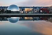 France, Paris, Parc de La Villette, Cité des Sciences and Industry of the architect Adrien Fainsilber, the Geode