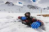 France, Savoie, Tignes, ice diving