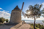 France, Bouches du Rhone, Martigues, the windmill seen since the metropolitan path of the GR on 2013 which crosses the metropolitan area of Marseille
