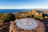 France, Var, Saint Raphael, Corniche de l'Esterel, massif de l'Esterel, Agay, Orientation Table at the top of the Cap Roux