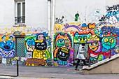 France, Paris, Bichat street on the banks of canal Saint-Martin, street art by the franco-colombian artist Alberto VEJARANO, alias CHANOIR