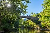 France, Gard, the Causses and the Cevennes, Mediterranean agro-pastoral Cultural Landscape listed as a UNESCO World Heritage site, Vis gorges, Saint-Maurice-Navacelles, Cirque de Navacelles, bridge over Vis river