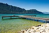 Frankreich, Savoie, Aix-les-Bains, am Ufer des Lac du Bourget (See von Le Bourget), der Ort Sèselets