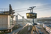France, Finistere, Brest, urban cable car between the two shores of the Penfeld river connects the districts of Siam and Capucins, Jean Moulin station
