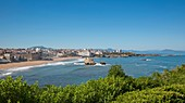 France, Pyrennees Atlantique, Basque Country, Biarritz, view of the Grande Plage and the city with the casino